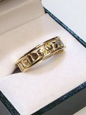 9ct Yellow Claddagh Band Ring Ladies Size