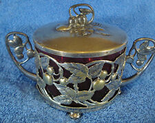 ART NOUVEAU WMF Silverplate Sugar Bowl with Glass