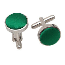 Mens Plain Wedding Silver Plated Cufflinks - Emerald Green