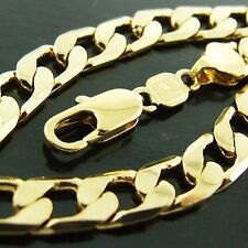 AN950 GENUINE REAL 18K YELLOW G/F GOLD SOLID MENS CURB CUBAN BRACELET BANGLE