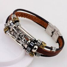 Men Coffee Bracelet Bangle Leather Multilayer Silver Dragon Xmas Holiday Gift