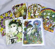 Set of Six Hippy greetings birthday cards value pack, UK artist, Pagan, Goddess