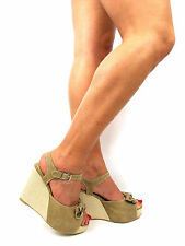 Womens Shoes Wedges Sandals Size 7 Strappy Summer High Heels Ankle Strap New