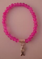 Pink Beaded Bracelet with Silver Cancer Hope Charm EB10
