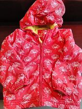 Girls Boden Winter Fleece Lined Coat Hood Red Age 5-6 VGC Red Yellow