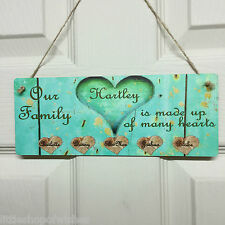 Family Tree Our Hearts Roots Love Shabby Chic Plaque Personalised Hanging Sign