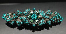 BLUEY GREEN TILT Wedding Crystal Hair Comb Clip Barrette Bridal Formal Turquoise