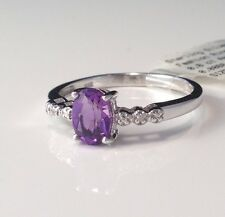 Natural .81ct Oval Purple Amethyst Diamond Ring 925 Sterling Silver Size 7
