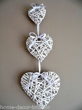 Set Of 3 Hanging White Wicker Hearts Shabby Chic Willow Vintage Bedroom Home