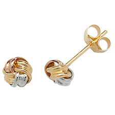 9ct Yellow, Rose & White Gold Lightweight Small Knot Style Studs ES360