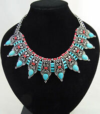 STATEMENT NECKLACE TURQUOISE CORAL AND ANTIQUE SILVER COLOURED