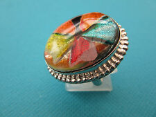 925 Silver Ring With A Colourful Dichroic Glass Cabochon Size S US 9   (rg1602)