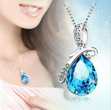 Blue Short Chain Crystal Diamond Shape Necklace Pendant For Women Jewelry AU