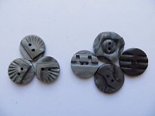 Mixed 1930s Vintage Sm Carved Grey Bakelite Craft Collectible Buttons-17mm