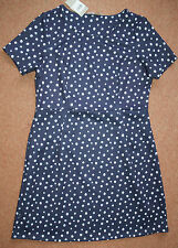 NEW! Sz 16 Navy & White spot spotty Short sleeve textured skater dress Nautical