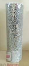 Stunning Silver Decorative Mosaic Mirrored Crackle glass Vase-44cm Home decor
