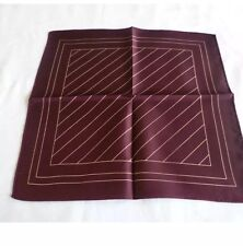 BNWOT Marks and Spencer 100% Silk Pocket Square/Hankerchief  in Burgundy & Cream