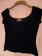 Ex River Island Black Chenille and Velvet Cropped Top, Size 12