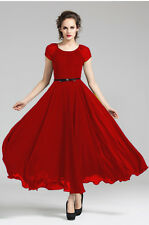 Red Women billowing Skirt Evening Cocktail Party long maxi Dress Plus Size 22