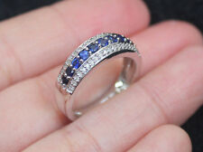 New 10K Sz7 Natural Diamond Lab Blue Sapphire Wedding Cigar Band Ring White Gold