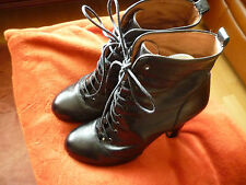 DUNE LEATHER LACE UP VICTORIAN ANKLE BOOTS HIGH HEEL  BLACK SIZE 4