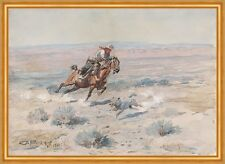 Roping a Wolf Charles M. Russell Cowboy Wolf einfangen Reiter Tiere B A1 01112