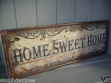 SHABBY VINTAGE CHIC BROWN METAL PLAQUE HOME SWEET HOME EMBOSSED DOOR / WALL SIGN