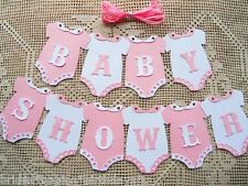 10 Bunting Flags Banners Garland Onesies  BABY SHOWER Pink White Girl DIY B3