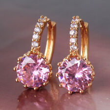 Vivid cute earring gift 24k yellow gold filled pink topaz lady hoop earring