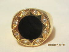 Lovely Yellow Gold Filled  signet ring - Onyx and swarovski crystal - Size 9
