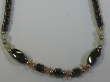 Hematite (Black/Grey) Necklace with Colored Beads & Stones (pink/green)