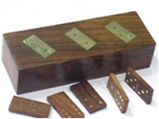 Hand Carved Wood Dominoes in Box with Brass Detail - Domino Game Set
