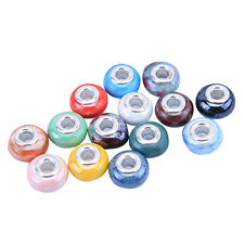 20pcs New European Charms Mixed Color Round Ceramic Porcelain Bead At Random BS