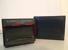 Tommy Hilfiger Men's Trifold & Valet Wallet Black Genuine Leather New In Box
