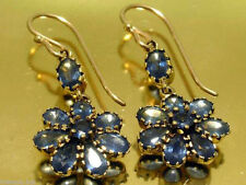 CE127 Genuine 9K Yellow Gold Natural Sapphire Blossom Vintage DROP Earrings
