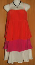NEW/TAGS WISH 100% Silk Layered Chiffon, Tri Colour, 'VISTA' Dress Size 8-10