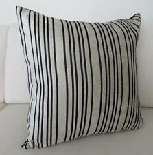 Quality Satin & Velvet Black/Ivory Striped Cushion Cover 45cm