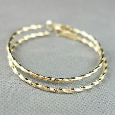 14k Gold plated large hoop twisted drop earrings