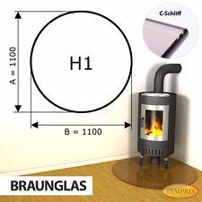 Funkenschutz Glasplatte Kaminplatte Ofen Unterlegplatte Braunglas H1 Temprix