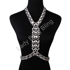 Körperkette Körperschmuck Bauchkette Collier Kette Strass Body Chain Gold Klar