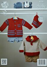 Baby KNITTING PATTERN Babies Easy Knit Jumper Jacket & Hat Chunky King Cole 4228