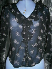New Look - Black with Floral Pattern Stretchy Top, Blouse - Size 14 - Medium