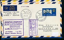 95572) LH FF Bremen - München 1.4.71, Brief ab Norwegen