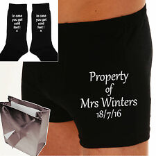 "PERSONALISED BOXER SHORTS & SOCKS Wedding Day Groom Gift ""THE PROPERTY OF MRS"""