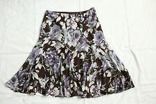 Ralph Lauren Seiden Rock Gr.M mit Gummi Bund floral schwingend knielang braun