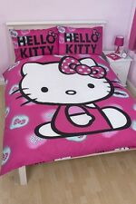 HELLO KITTY INK PANEL DOUBLE BED SIZE DUVET COVER SET QUILT CHILDREN, PINK CAT