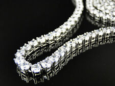 New Mens All White Solid Stainless Steel 316 White Lab diamond 1 Row Chain 4 mm
