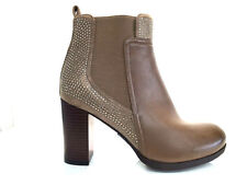 LADIES WOMENS KHAKI ANKLE HIGH LEATHER STYLE HIGH HEEL BOOTS SHOES SIZE 8
