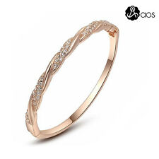 Fashion Women Rose Gold Crystal Czech Rhinestone Bracelet Cuff Bangle Jewelry