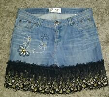 JAB denim skirt sz 14 lace country hippy embroidered